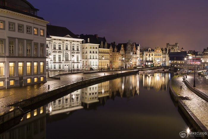 The scenic Korenlei and Graslei paths and River Leie in Ghent at night