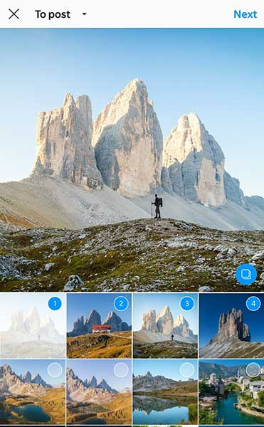 Instagram- multiple images in a post - slide show feature