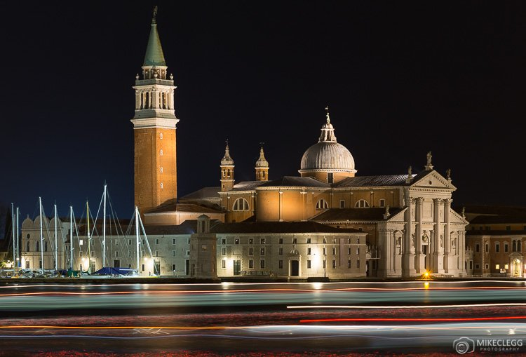 Light trails in Venice at night caused by boats