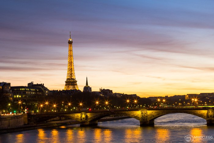 A view towards the Eiffel Tower in Paris at night