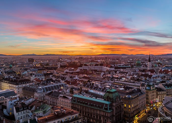 A view of the Vienna skyline at sunset