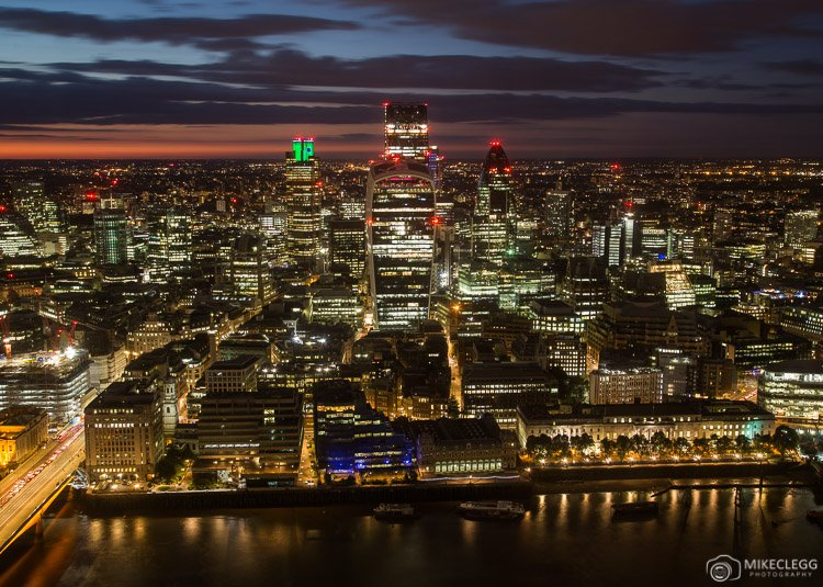 Views towards the City of London from the Deluxe City Room at the Shangri-La At The Shard, London
