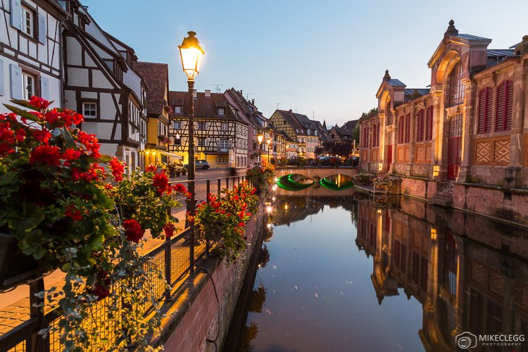 Canals of Colmar at night