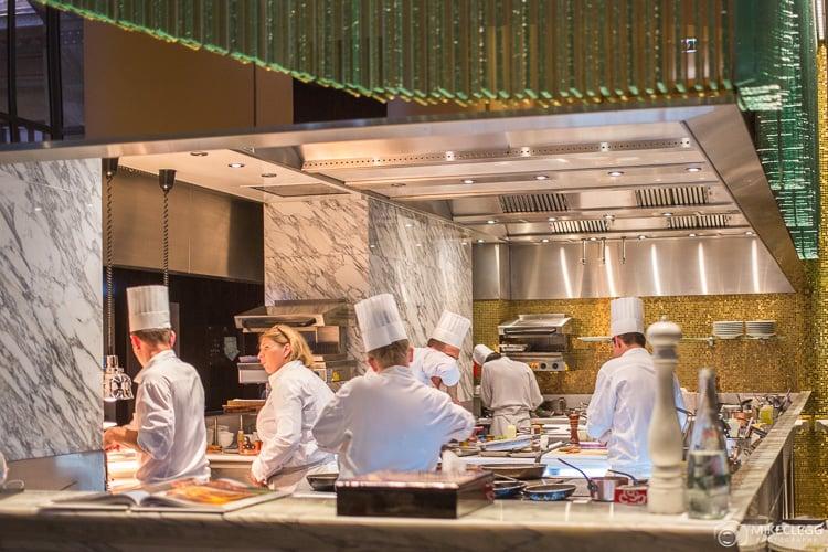 Chefs cooking at La Scene, Prince de Galles, Paris