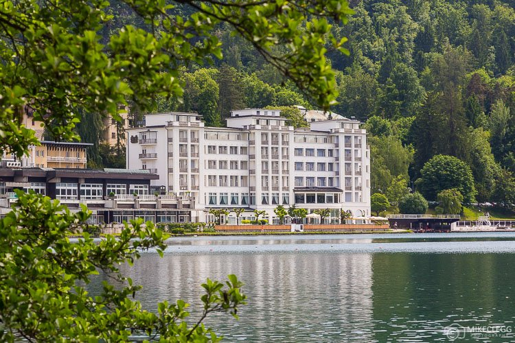 Grand Hotel Toplice Exterior from across Bled Lake