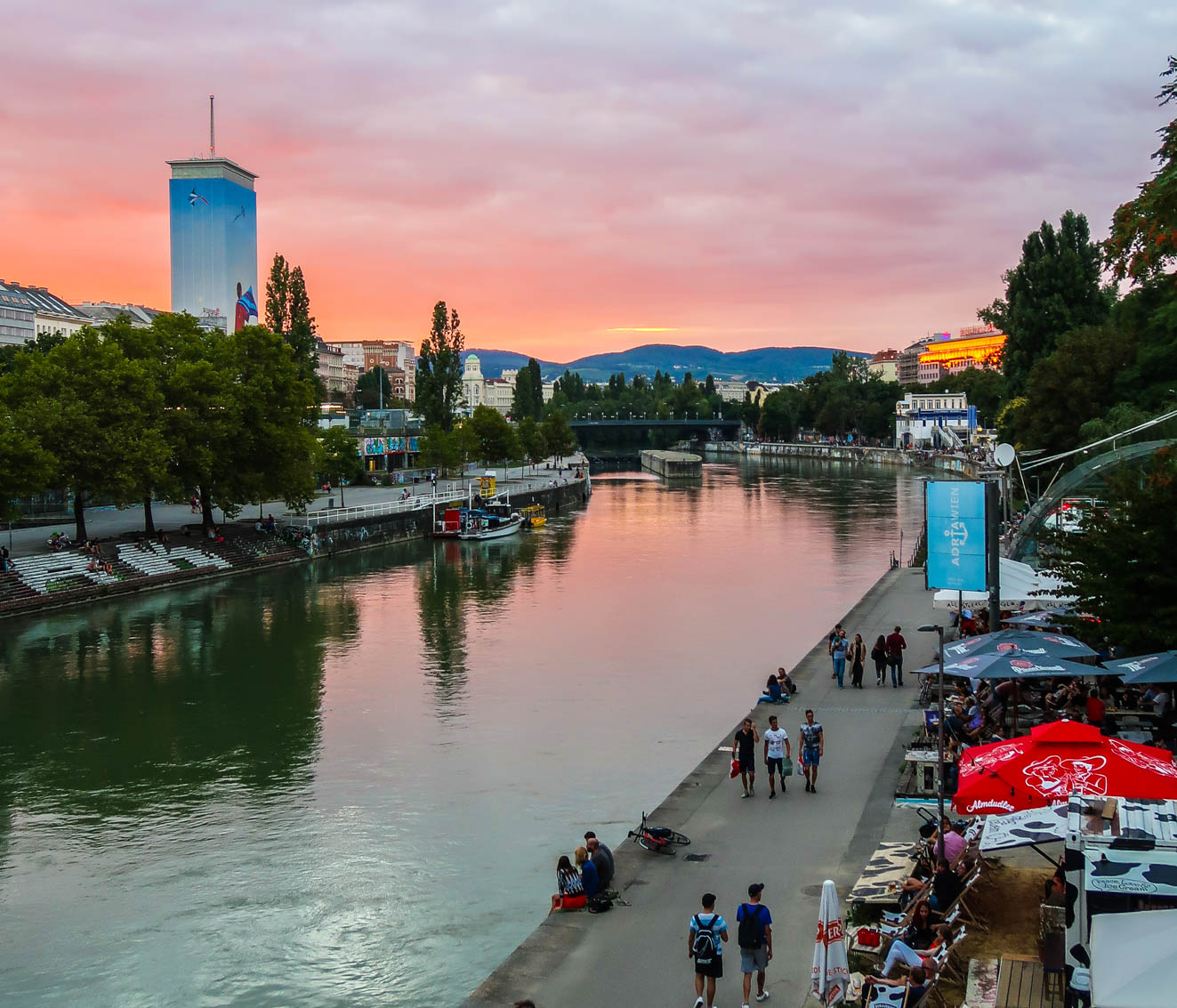 Vienna Danube Canal at Sunset