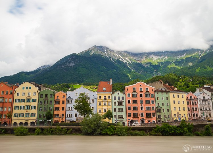 Colourful buildings along the River in Innsbruck