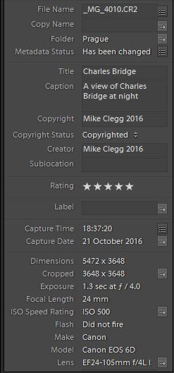 Lightroom titles and ratings