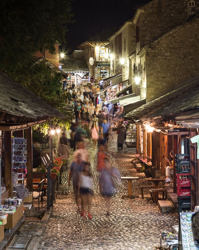 Streets of Old Town Mostar at night