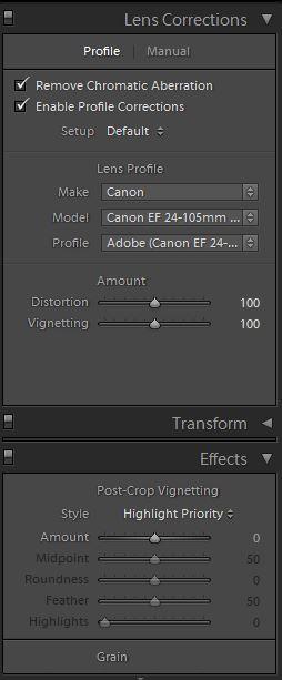 Editing options in Lightroom