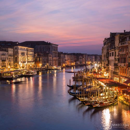 Views of the Grand Canal from Rialto Bridge at sunset