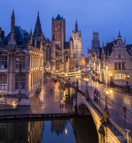 Views towards Ghent Old Town, Belgium