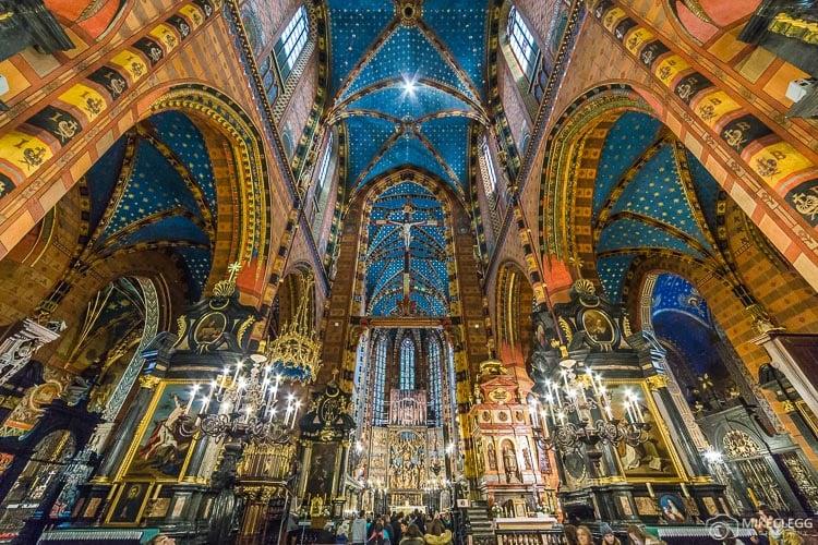 St Mary's Basilica interior, Krakow