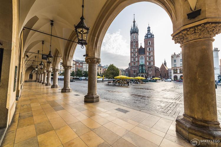 St. Mary's Basilica and buildings on Rynek Glowny in Krakow
