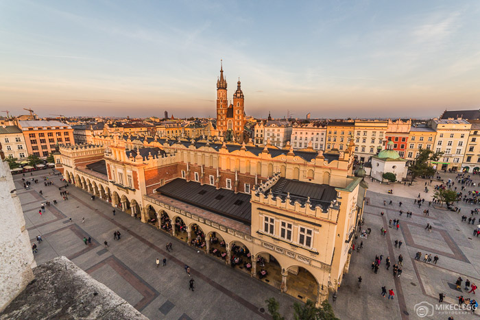 View of Rynek Glowny from Krakow Old Town Hall Tower
