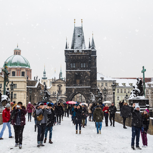 Prague in the Winter with snow
