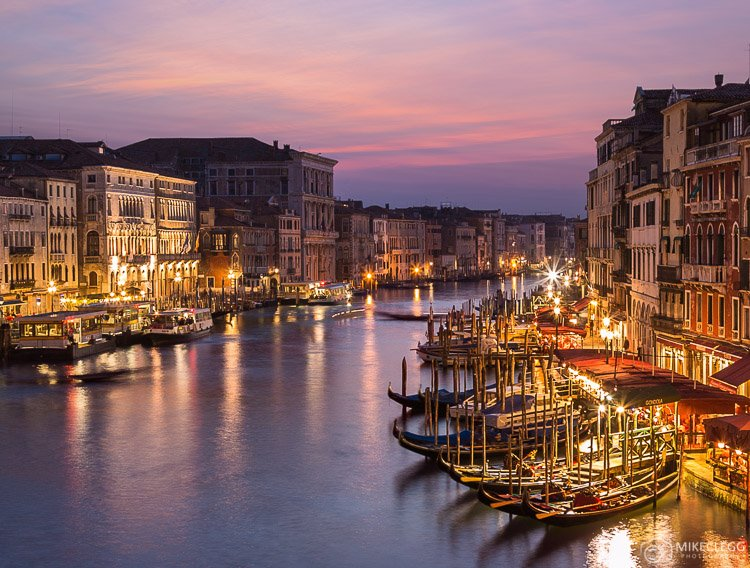 View from Rialto Bridge at sunset and blue hour