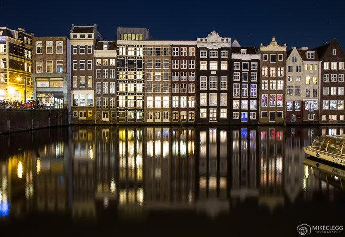 Buildings along the Damrak in Amsterdam