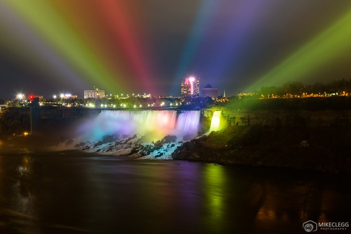 Colourful spotlights on American Falls
