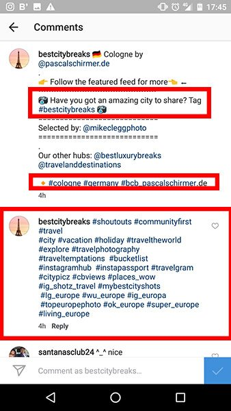 Example of using hashtags on a feature account