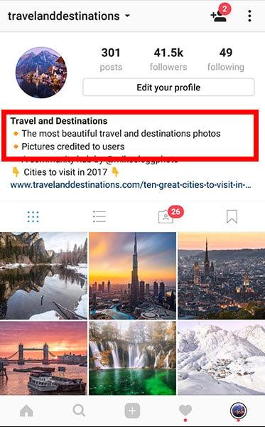 Instagram effective profile description