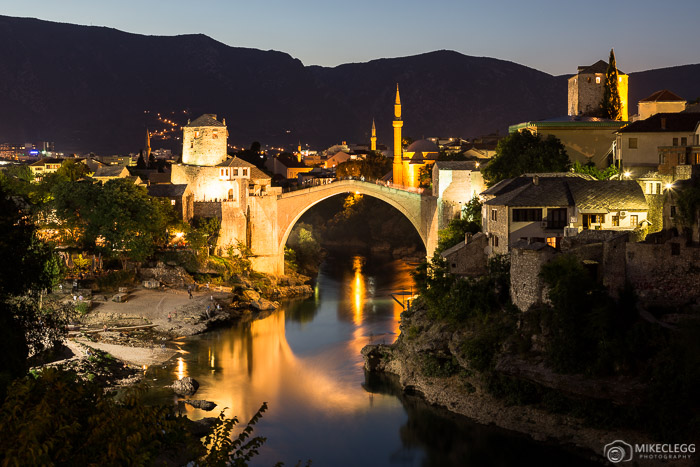 Mostar skyline at night, Bosnia and Herzegovina