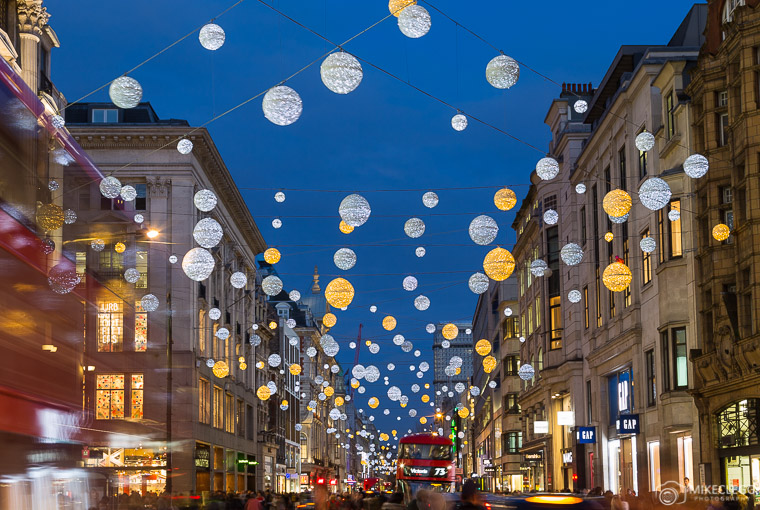 Oxford Street in London at Christmas