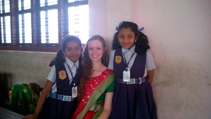 Samantha volunteering in India