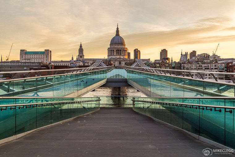 St Paul's Cathedral and Millenium Bridge at sunrise