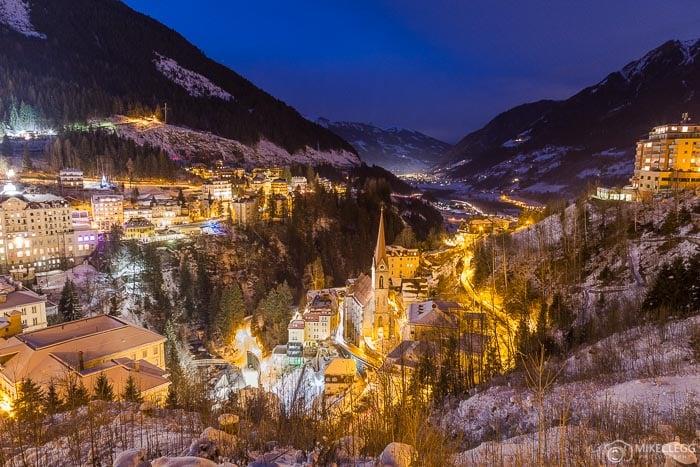 Bad Gastein, Austria at night