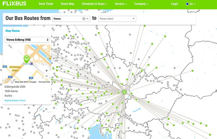 Flixbus Route Map