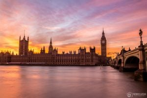 Houses of Parliament at sunset, London