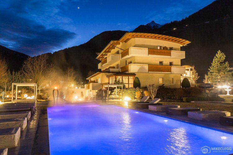 Luxury outdoor pool at Alpen Palace Resort and Spa