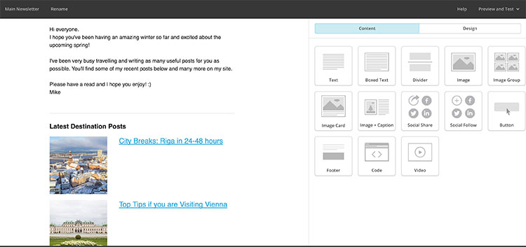Mail Chimp example screenshot