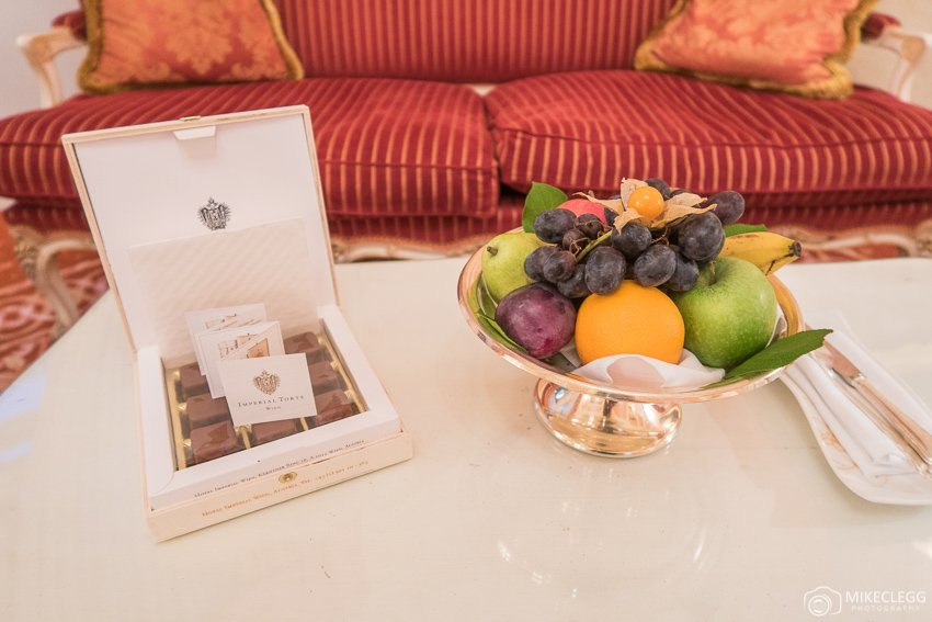 Welcome chocolate and fruit at luxury hotels