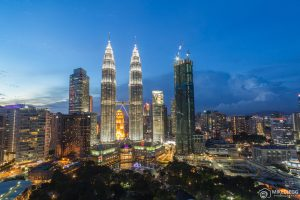 Kuala Lumpur Skyline towards the Petronas Towers at night