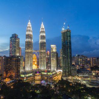 Kuala Lumpur Skyline towards the Petronas Towers at night