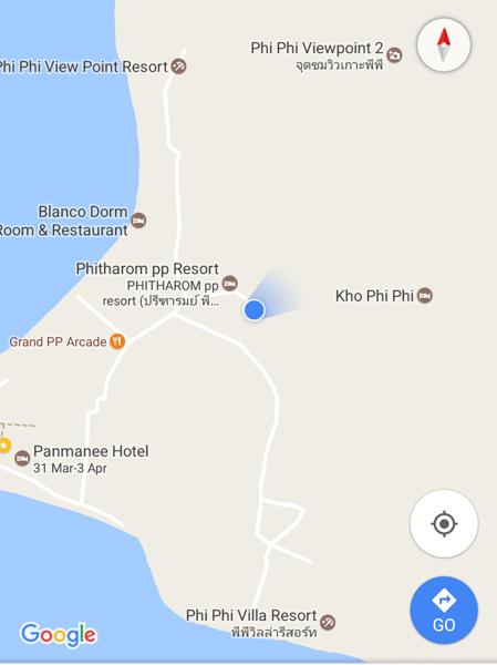 Map screenshot to Ko Phi Phi Viewpoint
