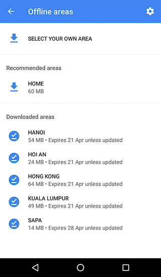 Offline Areas on Google Maps Android