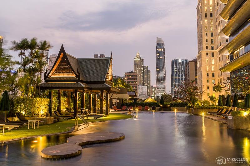 Outdoor pool and city views at Plaza Athenee Bangkok