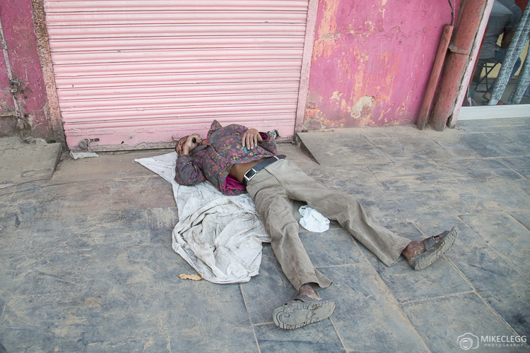 People sleeping on the street in India