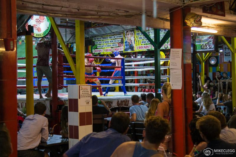Tourist kickboxing fighting at Reggae Bar, Ko Phi Phi