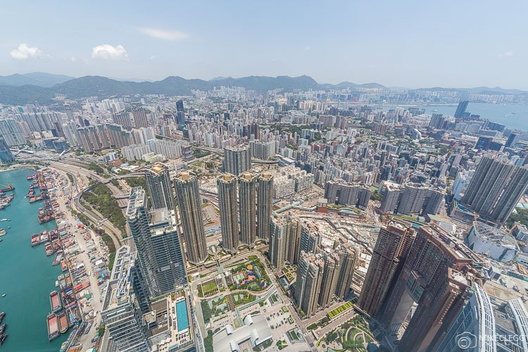Views of Hong Kong City from Sky100 observation deck