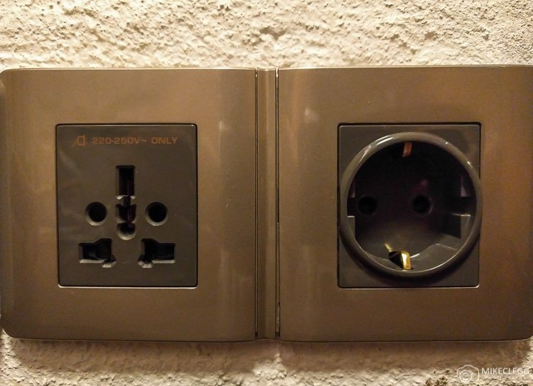 International plug sockets at luxury hotels
