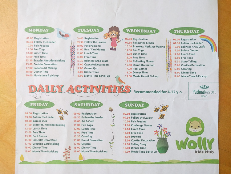 Kids Club Daily activities at Padma Ubud