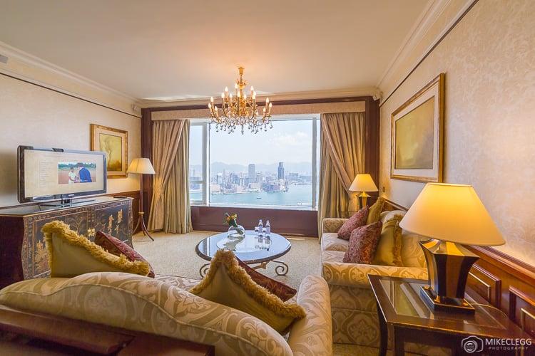 Lounge living room in a Suite at Island Shangri-la Hong Kong
