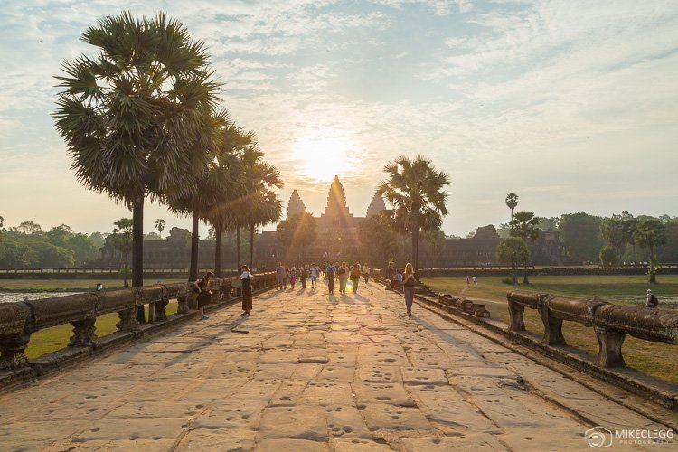 Path towards Angkor Wat at sunrise