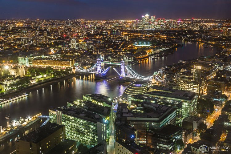 Skyline views of London from the Shangri-La at the Shard