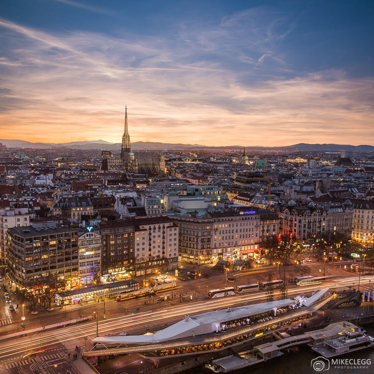 Views of Vienna skyline from Sofitel
