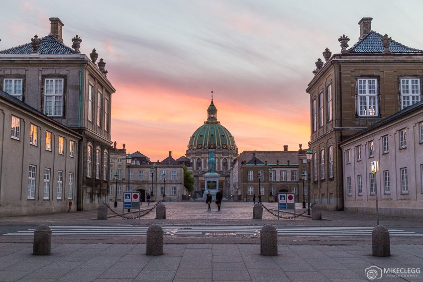Amalienborg and Frederik's Church sunset in Copenhagen